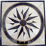 Tile Floor Medallion Marble Mosaic North Star Design 36''