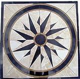 Tile Floor Medallion Marble Mosaic North Star Design 40''