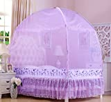 """RuiHome 3-Doors Style Bed Mosquito Net Tent with Floor Home Bedroom Anti-bites Insect Mesh Netting (47''x79''x67"""", Purple)"""