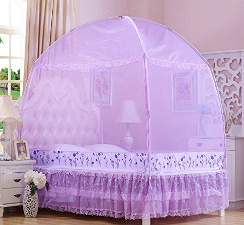 RuiHome 3-Doors Style Bed Mosquito Net Tent with Floor Home Bedroom Anti-bites Insect Mesh Netting (47''x79''x67'', Purple) by RuiHome (Image #1)