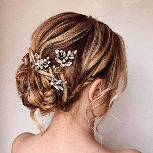 Asooll Silver Wedding Hair Accessories for Women Crystal Bridal Hair Pins Wedding Rhinestone Hair Piece for Bride and Bridesmaid