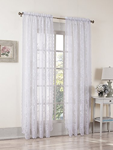 picture of S. Lichtenberg Alison 58 by 84-Inch Curtain Panel, White