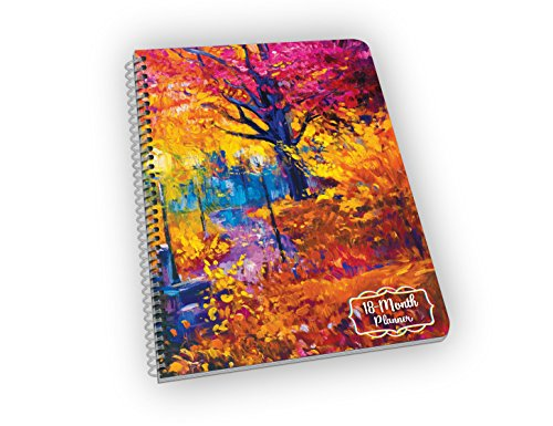 Undated 18-Month Planner with Autumn Leaves Over a Bridge - Great Gift for Mom, Grandma, Sister and Aunt! - Undated