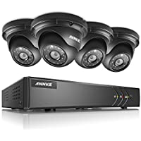 ANNKE Surveillance System 4CH 1080N 5-in-1 DVR with (4) 960P Hi-Resolution Weatherproof Indoor/Outdoor CCTV Cameras with Remote Viewing and Email Alert-NO HDD
