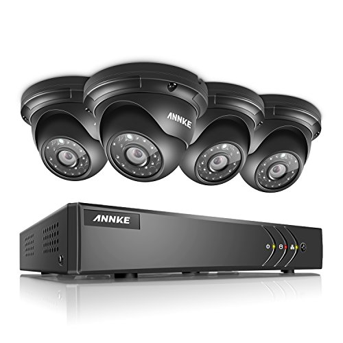 ANNKE Surveillance System 4CH 1080N 5-in-1 DVR with (4) 960P Hi-Resolution Weatherproof Indoor/Outdoor CCTV Cameras with Remote Viewing and Email Alert-NO HDD by ANNKE