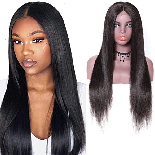 (UNice Hair 13x6 Straight Lace Front Human Hair Wigs, Unprocessed Brazilian Virgin Hair Free Part Wig, Pre Plucked with Baby Hair 150% Density Natural Color (14 inch) )