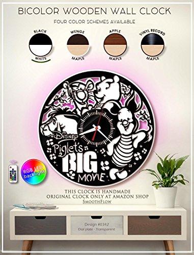 Piglet's Big Movie Wooden Clock. Pooh Bear Bicolor Clock. Disney Gift. Disney Decor. Handmade Wall Clock. Disney Clock. Kids Room D?cor B342(Black-White-Light)