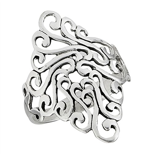 Filigree Wide Swirl Celtic Oxidized Ring New 925 Sterling Silver Band Size 10 (Sterling Silver Wide Filigree Band)