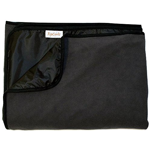 Fleece Nylon Blanket (Ripcords Large Waterproof and Windproof Stadium Blanket with Fleece)