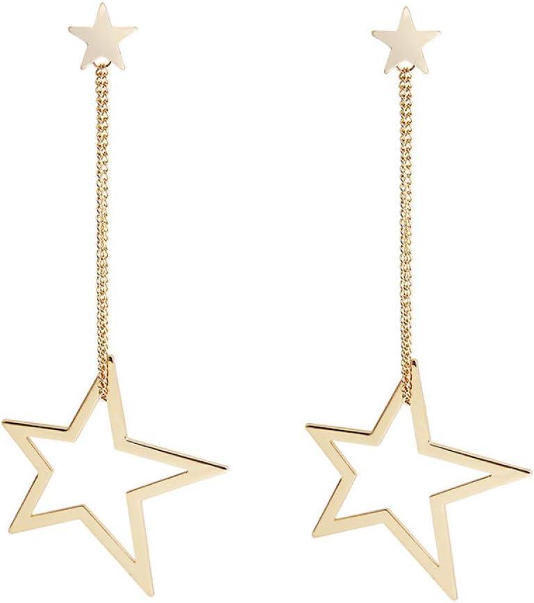 ZHQJY Pendientesgeométricos deDoble Estrella deModapara Mujer Joyas clásicas Pendientes Largos de Plata Dorada