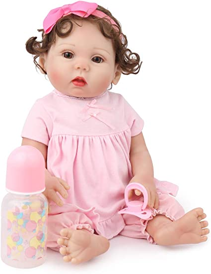 "18/"" Reborn Baby Dolls Body Silicone Vinyl Newborn Babies Toy Girl Doll Gift"