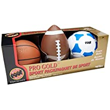 POOF Pro Gold Foam 9.5-Inch Football, 7-Inch Basketball and 7.5-Inch Soccer Ball 3-Ball Sport Pack in Box, Various Colors