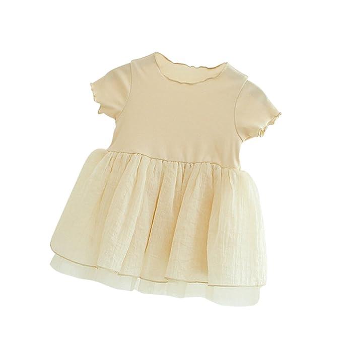 Byqny Plisado Vestidos de Fiesta Linda Bebe Niña Recién Nacido Vestido de Verano Bautizo para Boda