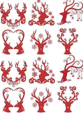 Enamel Decal to Choose from Ceramic Decal 3 Different Size Sheet or Glass Fusing Decals 11318 Enamel Waterslide Decal Glass Decal Choose Either Ceramic Reindeer Antler Hearts Images