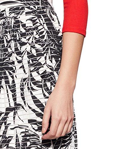 Jupe Crayon Palm Blanc Vero Black White Snow Print Femme Moda Nia FtqUx