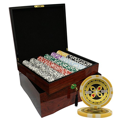 MRC 750pcs Ultimate Casino Laser Poker Chips Set with High Gloss Wood Case by Mrc Poker