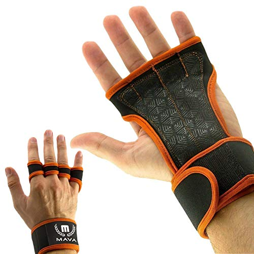 Gloves for Training with Wrist Support for Gym- Silicone Padding - Gloves with Wrist Support & Grips for Wrists - Pull Ups Gloves Against Calluses for Men & Women Mava