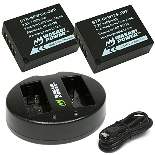Price comparison product image Wasabi Power Battery (2-Pack) and Dual Charger for Fujifilm NP-W126
