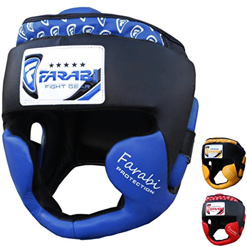 Boxing headguard, head protector mma muay thai kickboxing training punch protector genuine leather (Blue, Small/Medium)