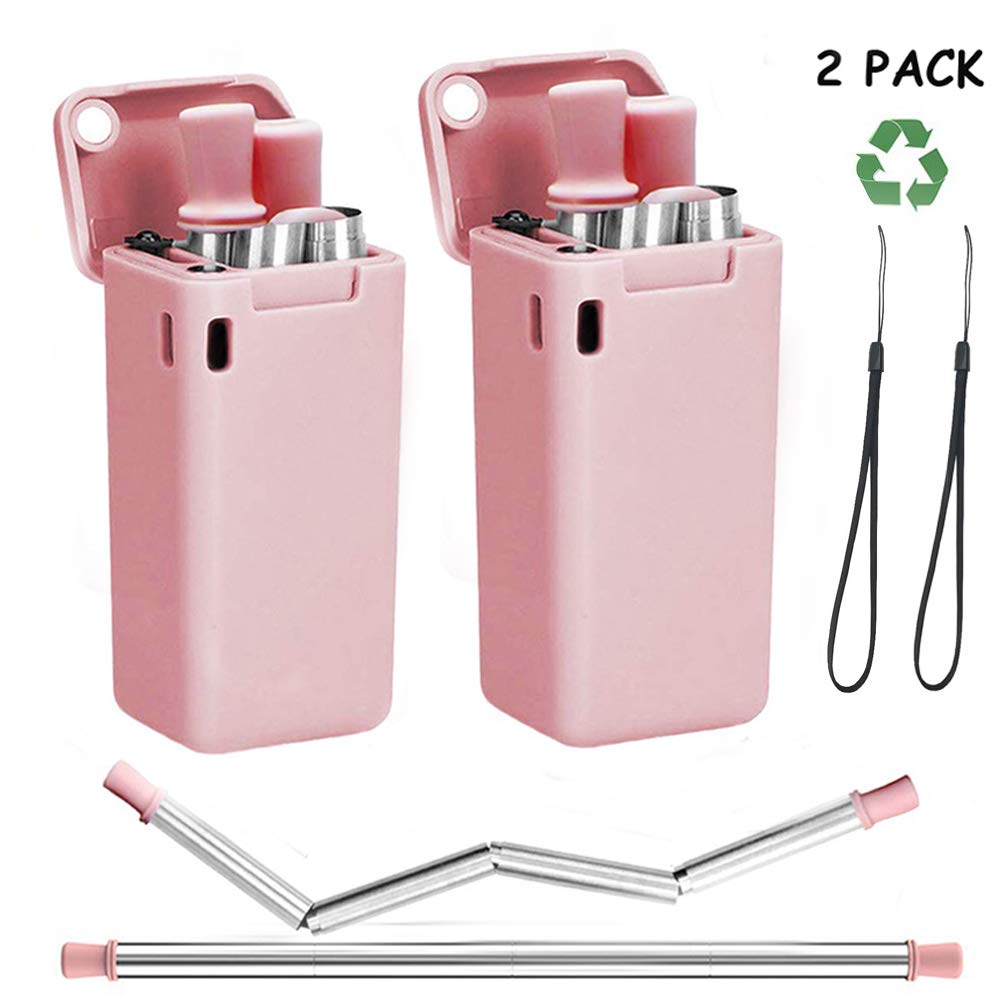 Lx-Top Pajitas Plegables de Acero Inoxidable Reutilizables Port/átiles Sin BPA Grado de Comida con Caja de Llavero Cepillo de Limpieza