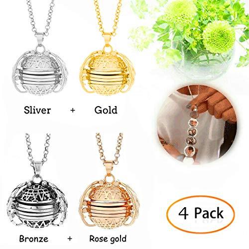 Hongxin 4pcs Expanding Photo Locket Necklace Pendant Angel Wings Jewelry Gift for Lover Mom Girlfriend (Gold+Silver+Bronze+Rose Gold) (Bronze Velvet Pendant)