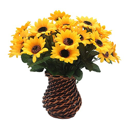 Velener Artificial Silk Daisy Sunflowers Arrangements with Rattan Vase for Home Decor (5 Sets, 7 Stems/Set)