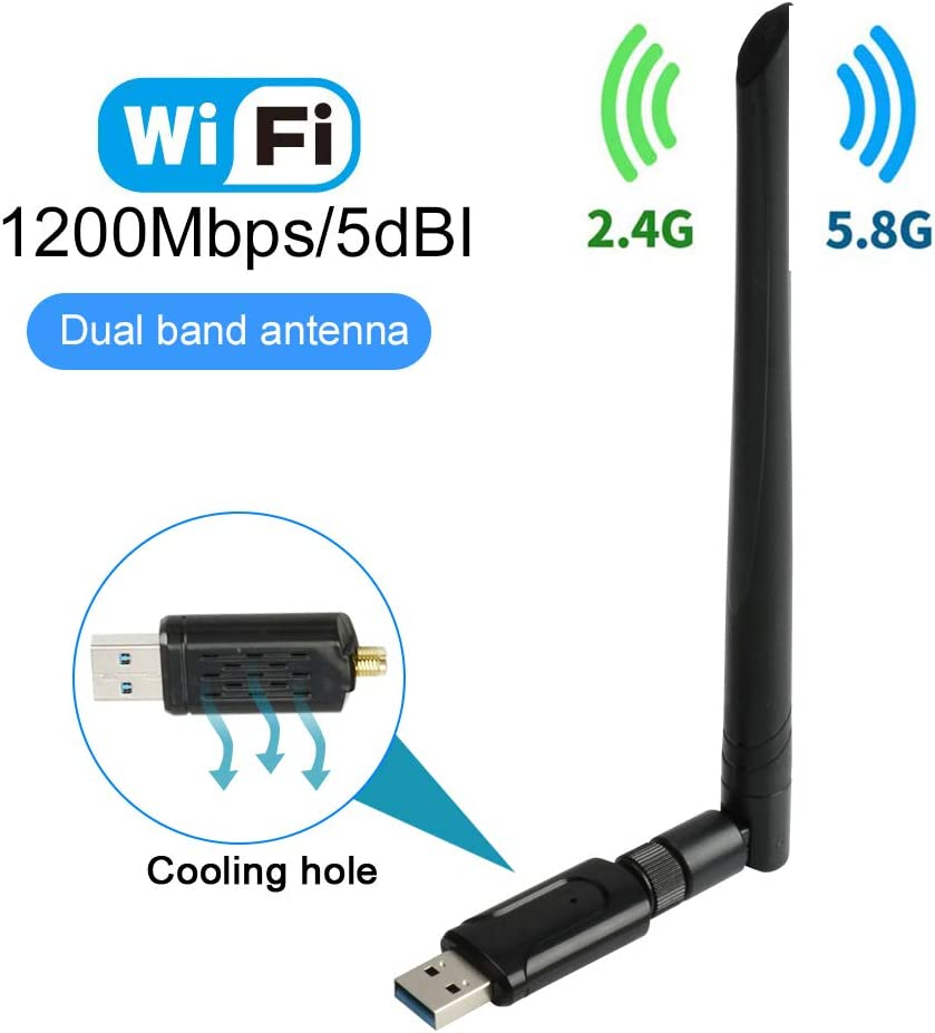 USB WiFi Adapter for PC1200Mbps USB 3.0 Wireless Network WiFi Dongle Adapter Dual Band 5.8GHz/867Mbps 2.4GHz/300Mbps 5dBi Antennas WiFi Adapter for PC Desktop Laptop with Windows 10/8/7/XP/Vista/Mac