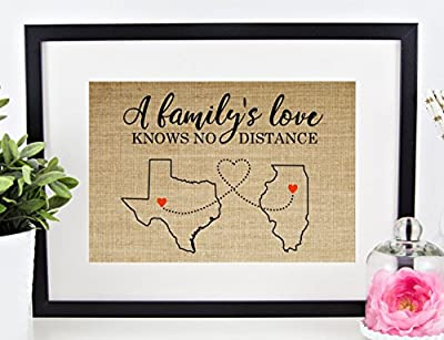 Personalized Long Distance Family Gift, Mother's Day Mom Dad Grandma Sign: Map of ANY CITY, STATE, or COUNTRY (8x10 or 11x14 Burlap Print)