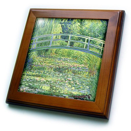 3dRose ft_46577_1 Famous Monet's Water Lilies with Lavender Frame-Framed Tile Artwork, 8 by 8-Inch -