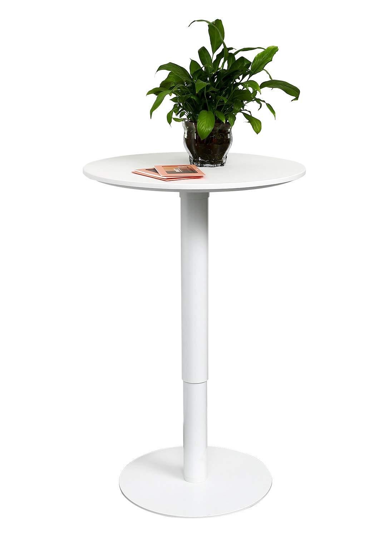 Gaming Desk YULUKIA 100002 Runder Tisch mit einer Platte mit 600 mm Durchmesser und einem Aluminiumbein mit einer H/öhe von 610 mm bis 1000 mm Sitz und Steharbeitstisch in jeder Position