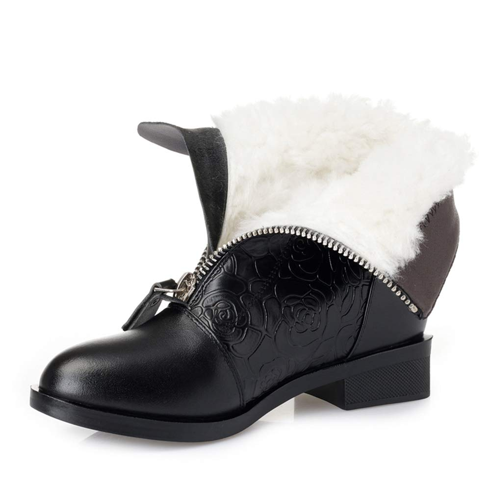 Frauen Dickes Fell Martin Stiefel Stiefeletten Winter Ehemalige ReißVerschluss Kuh Leder Schneeschuhe Damen Niedrigen Ferse Schuhe  | Optimaler Preis  | Deutschland Shop