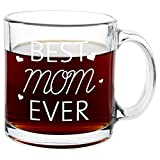 yankees crystal mug - BEST MOM EVER Glass Coffee Mug 13oz – Quality Birthday Gift for Mom/Grandmom – Unique Novelty Gift for Her - Top Mother's Day Gift Idea for Coffee/Tea Lovers & Family