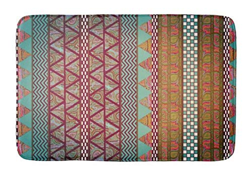 - Yesstd Dark Teal Amber Boho Tribal Stripes Absorbent Super Cozy Bathroom Rug Doormat Welcome Mat Indoor/Outdoor Bath Floor Rug Decor Art Print with Non Slip Backing 30