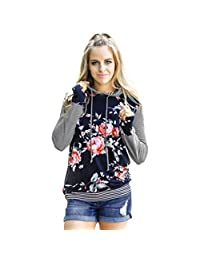 Sumen Women T-Shirt Floral Striped Long Sleeve Shirt Hoodie Sweatshirt