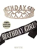 Meant2ToBe Birthday Girl Sash and Tiara, Birthday Girl Sash and Crown, Happy Birthday Party Supplies, Favors, Decorations 13th, 16th, 21st, 30th, 40th, 50th, 60th, 70th, 80th, 90th Birthday (Silver)