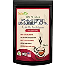 Red Raspberry Leaf Tea, Fertility tea for women to get pregnant fast, induce labor and aid uterus health - Caffeine Free - 30 Tea Bags | Made in USA