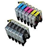 11 Pack Compatible Brother LC-61 , LC-65 5 Black, 2 Cyan, 2 Magenta, 2 Yellow for use with Brother MFC-J410, DCP-145C, DCP-165C, DCP-195C, DCP-375-CW, DCP-385C, DCP-395-CN, DCP-585-CW, DCP-6690-CW, DCP-J125, MFC-250C, MFC-255-CW, MFC-290C, MFC-295-CN, MFC-490-CW, MFC-495-CW, MFC-5490-CN, MFC-5890-CN, MFC-5890-CN, MFC-5895-CW, MFC-6490-CW, MFC-790-CW, MFC-795-CW, MFC-990-CW, MFC-J220, MFC-J410, MFC-J415-W, MFC-J615-W. Ink Cartridges inkjet. LC-61-BK , LC-61-C , LC-61-M , LC-61-Y © Zulu Inks