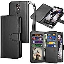 LG Stylo 3 Case, LG Stylo 3 Wallet Case, LG Stylo 3 Plus PU Leather Case, Tekcoo Luxury Cash Credit Card Slots Holder Carrying Flip Cover [Detachable Magnetic Hard Case] For LG Stylus 3 - Black