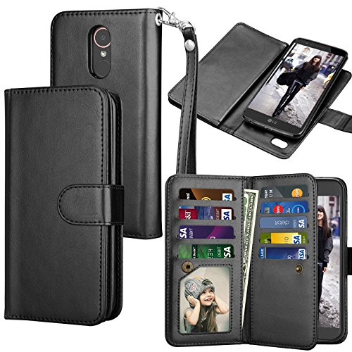 Tekcoo for LG Stylo 3 Wallet Case/LG Stylo 3 Plus/LG Stylus 3 PU Leather Case, Luxury ID Cash Credit Card Slots Holder Carrying Flip Folio Cover [Detachable Magnetic Hard Case] -Black