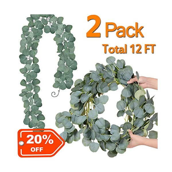 2 Pack Total 12ft Artificial Plants Hanging Eucalyptus Garland Faux Silk Hanging Vines Handmade Greenery Garland For Wedding Party Wall Home Decor Outdoor Backdrop Arch Wall Decor Silk Flower Arrangements