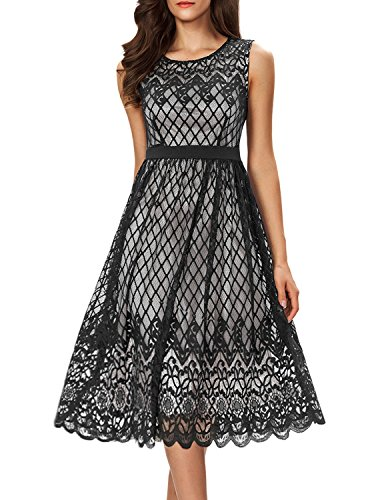 Noctflos Women's A Line Lace Cocktail Wedding Party Midi Swing Tea Dress Black XXL