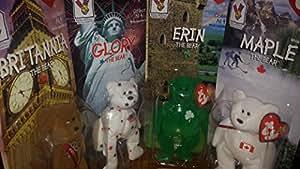 Erin, Britannia, Glory, and Maple Ty Beanie Babies Bear