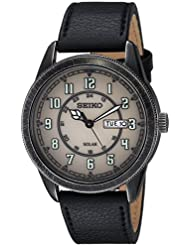 Seiko Mens RECRAFT Quartz Stainless Steel and Leather Casual Watch, Color:Black (Model: SNE447)
