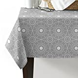 Indoor/Outdoor Rectangle Tablecloths, Vintage Cube Floral Islamic Pattern Gray Cotton Linen Fabric Table Covers for Dinning Wedding Banquet Home Decor