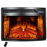 AKDY Freestanding 6 Setting LED Backlights Tempered Glass Adjustable Electric Fireplace Heater w/ Remote Control & Log Set For Sale