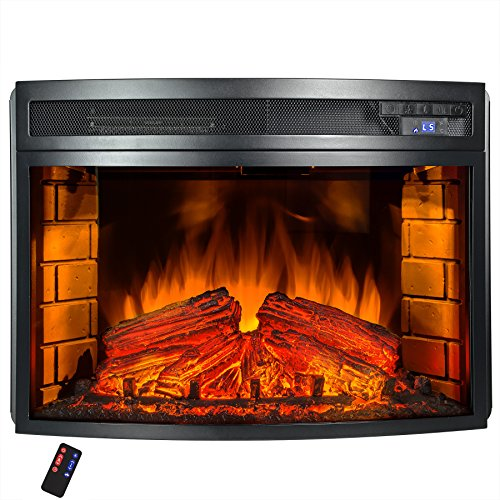 AKDY Freestanding 6 Setting LED Backlights Tempered Glass Adjustable Electric Fireplace Heater w/ Remote Control & Log Set