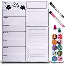 Dry Erase Weekly Magnetic Calendar Set - Whiteboard Planner for Refrigerator White Board Organizer Checklist & Message Board Attach to Fridge or Hang on Wall 17X13 inch With Markers Icons & Push Pins