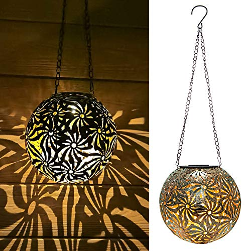 Hanging Solar Lantern Lights Outdoor Decorative for Garden Yard Patio Porch. Garden Lights Solar Powered, with Hanging Chain and Hook.