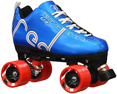 Labeda New Voodoo U3 Quad Roller Speed Skates Customized Blue Skate w Red Dart Wheels