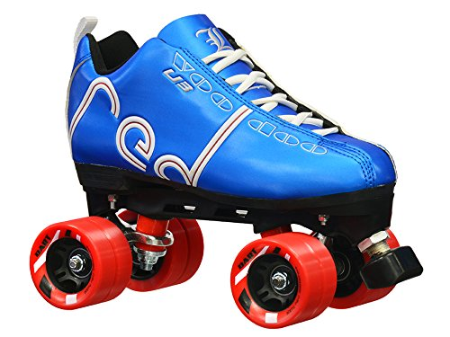 Labeda New Voodoo U3 Quad Roller Speed Skates Customized Blue Skate w/Red Dart Wheels! (Mens 8)